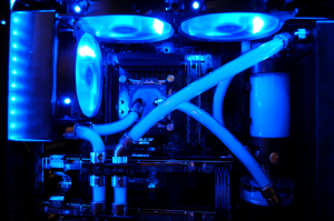 The custom water cooling loop in our Intel Extreme Rig.